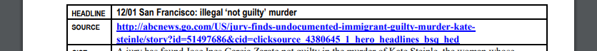 "A screenshot of InFOCUS showing the InFOCUS headline using the word ""illegal"" while the URL uses ""undocumented"""
