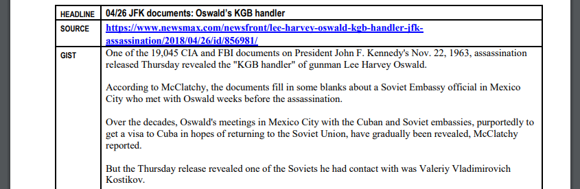 An screenshot from InFOCUS summarizing a Newsmax article about Lee Harvey Oswald's supposed connections to the KGB