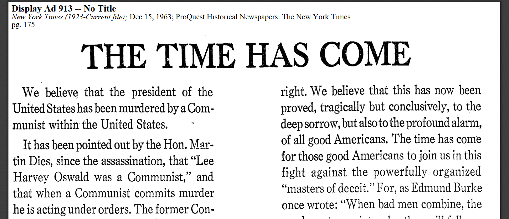An screenshot of a John Birch Society ad in the New York Times